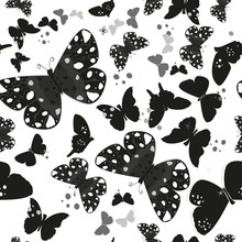 Black And White Traditional Butterflies Pattern
