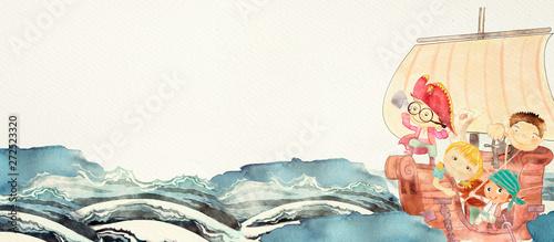 Naklejki do przedszkola pirates-watercolor-illustration-for-children
