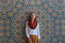 Tourist Woman By Mosaic Wall