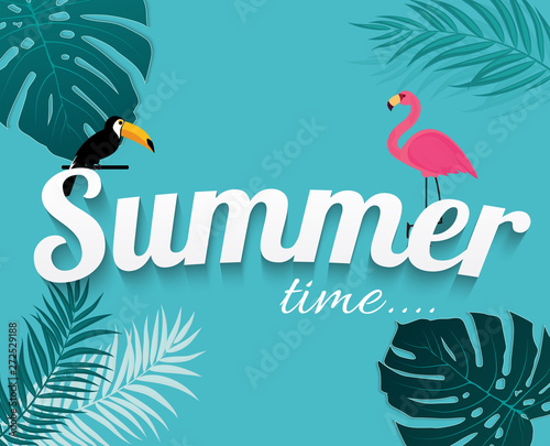 Abstract Summer Time Background with Flamingo and Toucan. Vector Illustration © yganko