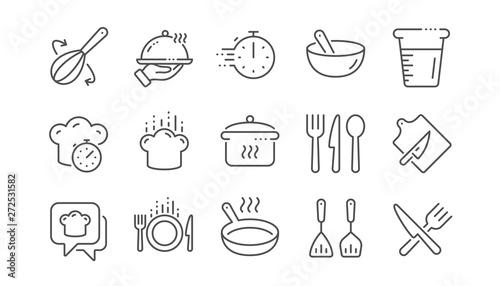 Pinturas sobre lienzo  Cooking line icons