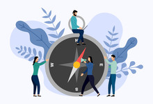 Compass Rose With Human Concepts, Travel Vector Illustration