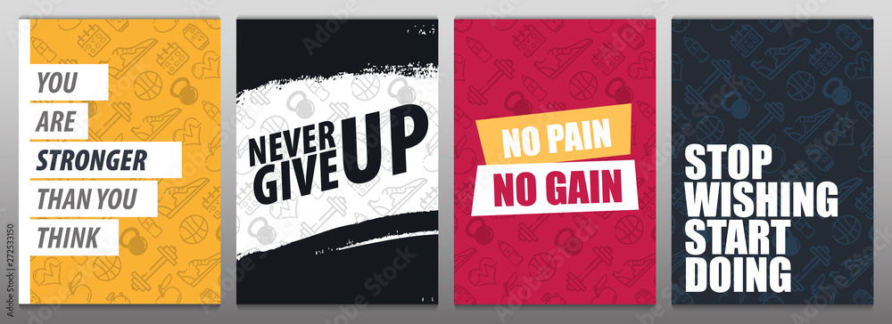 Fototapety, obrazy: Set of Fitness Gym Motivation Quote. Hand draw doodle background.
