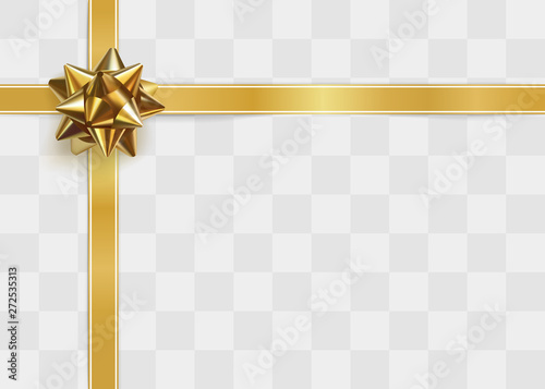 Photo Glossy golden bow. Greeting card template