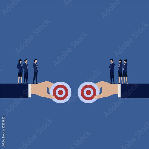 Business team debate to choose best target Canvas