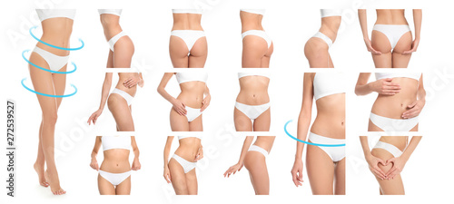 Fotografie, Obraz  Set of attractive young woman with slim body in underwear on white background, c
