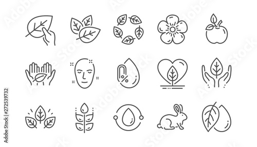 Fototapeta Organic cosmetics line icons. No alcohol free, synthetic fragrance, fair trade. Sustainable textiles, animal testing, eco organic icons. Linear set. Vector obraz