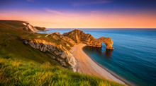 Jurassic Coast And Durdle Door In Dorset At Sunset