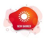 Fluid badge. Sun icon. Sunlight summer symbol. Hot weather sign. Abstract shape. Gradient sun icon. Flyer liquid banner. Vector