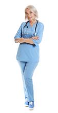 Full Length Portrait Of Female Doctor In Scrubs Isolated On White. Medical Staff