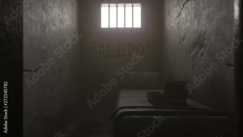 Fotografie, Obraz  Prison Cell in Daylight with a Bed and Books 3D Rendering