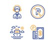 Ship travel, Shipping support and No parking icons simple set. Parking payment sign. Cruise transport, Delivery manager, Car park. Paid garage. Transportation set. Linear ship travel icon. Vector