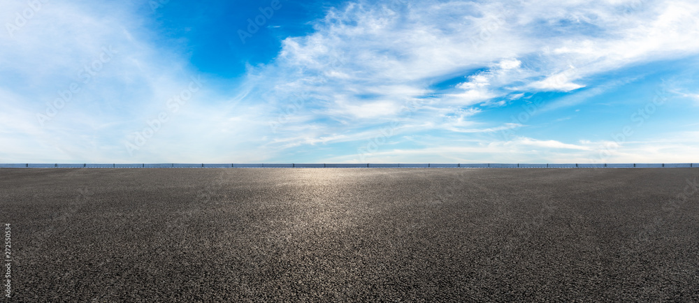 Fototapeta Empty highway road and sky clouds landscape,panoramic view