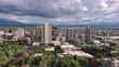 Rotating aerial view looking at downtown Salt Lake City Utah and Temple Square.