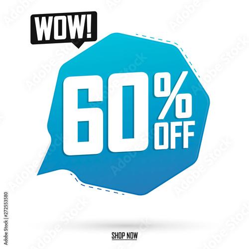 Sale 60% off, speech bubble banner, discount tag design