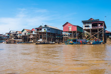 The Floating Village On The Water (Komprongpok) Of Tonle Sap The Largest Freshwater Lake In Southeast Asia, Siem Reap, Cambodia.