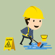 Safety signs installation, Vector illustration, Safety and accident, Industrial safety cartoon