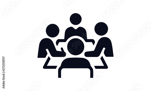 Fototapeta boardroom meeting icon vector black and white  business