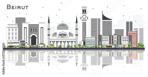 Fototapeta premium Bejrut, Liban, panoramę miasta z szare budynki i odbicia na białym tle.