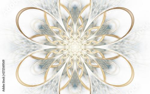 Photo  Abstract symmetrical golden flower ornament