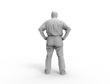 3d Rendering Of A Grey 3d Scanned Person Standing In White Studio Background