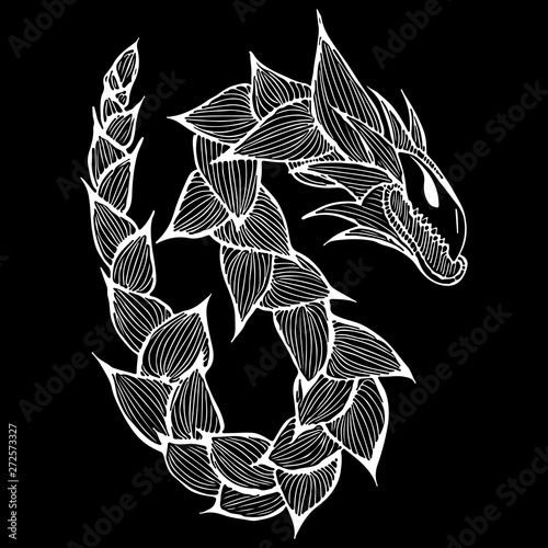 Foto op Canvas Bloemen zwart wit Hand drawn vector dragon illustration isolated on black background. Fantastic dragon icon. Freehand mythology aminal. Fantasy outline illustration
