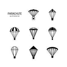 Parachute - Vector Icons Set.
