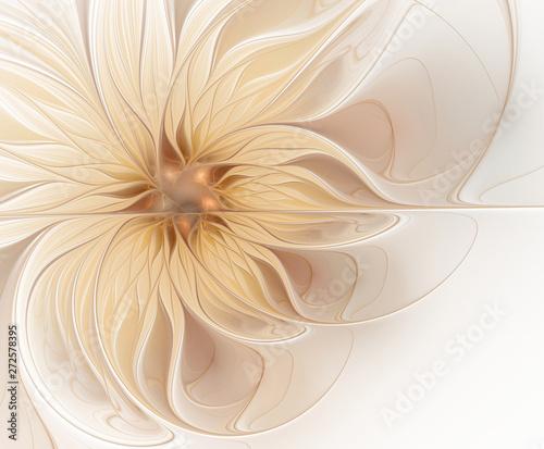 Fotografie, Tablou  Abstract fractal light beige flower