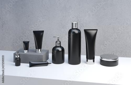 3d render mockup of men's cosmetic bundle for skin hair care Fototapet