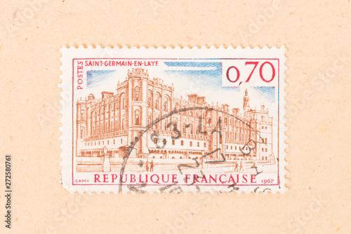 Fotografia  FRANCE - CIRCA 1967: A stamp printed in France shows Saint-Germain-en-Laye, circ