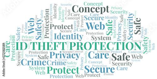 Id Theft Protection word cloud. Wordcloud made with text only. Tapéta, Fotótapéta