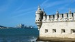 view of the tower of Belem, Tagus river, clear day and blue sky, Lisbon