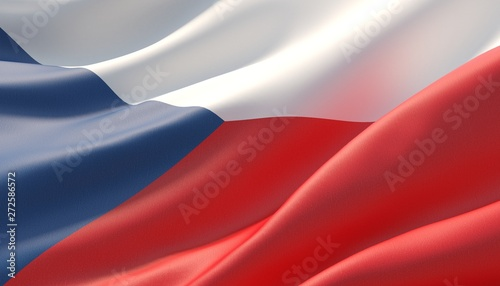 фотография Waved highly detailed close-up flag of Czech Republic