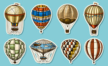 Hot Air Balloons On A Blue Background. Vector Retro Flying Airships With Decorative Elements. Template Transport For Romantic Logo. Hand Drawn Engraved Vintage Sketch.