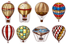 Vintage Hot Air Balloons. Cute Flying Retro Transport For Summer Holidays. Engraved Hand Drawn Sketch.