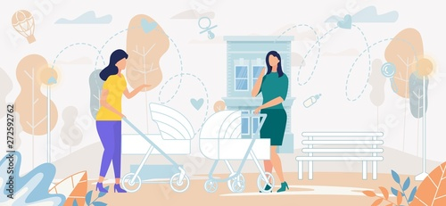 Fototapety, obrazy: Women with Baby Strollers Conversation on Street