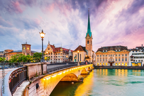 Zurich, Switzerland. View of the historic city center with famous Fraumunster Church #272595133