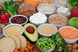 Health food for vegans with almond yoghurt,bean curd, legumes, grains, vegetables, fruit, cereals, nuts, seeds, oatmeal crackers & wholegrain bread. High in antioxidants, fibre, protein & omega 3.