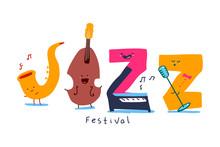 Jazz Festival Vector Cartoon L...