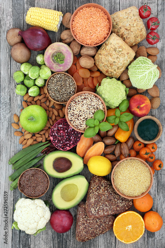 Aluminium Prints Health food for a high fibre diet with fruit, vegetables, legumes, nuts, whole grain bread rolls, seeds and grains. Foods with antioxidants, anthocyanins, vitamins and minerals. Top view.