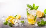 Homemade refreshing summer lemonade .