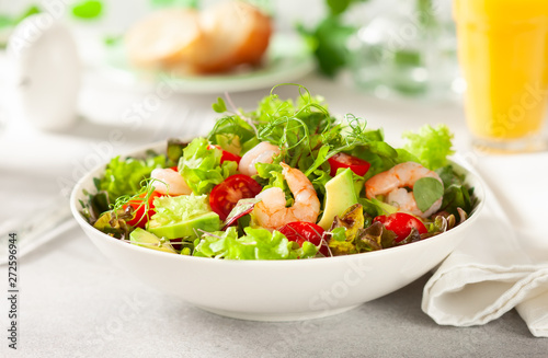 Canvas Prints Textures Fresh summer salad with shrimp, avocado and tomato