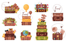 Set Of Luggage With The Attributes Of The Traveler. Vector Illustration On White Background.