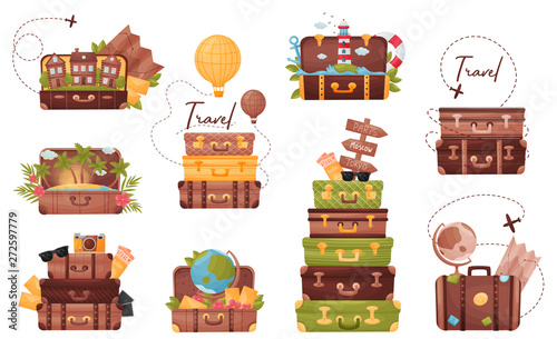 Fototapeta Set of luggage with the attributes of the traveler