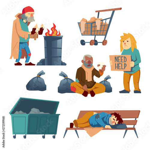Peachy Homeless People Cartoon Vector Characters Set Isolated On Unemploymentrelief Wooden Chair Designs For Living Room Unemploymentrelieforg