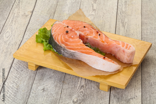 Raw salmon steak - ready for grill Canvas Print