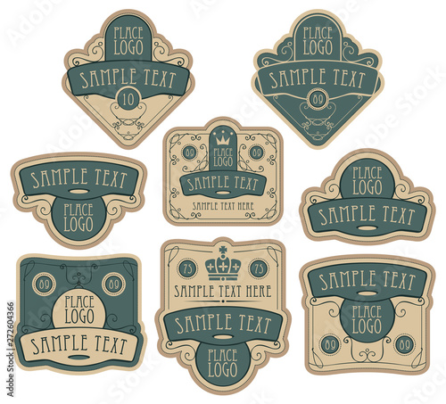 Set of ornate vector labels in green and beige colors in retro style, decorated by crowns, curls, in figured frames with place for text and logo Billede på lærred