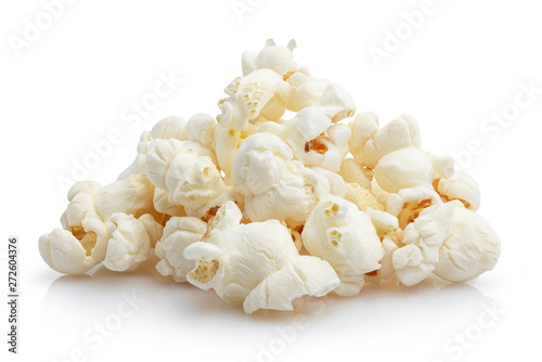 Fotomural  Heap of delicious popcorn, isolated on white background