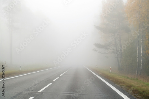 Fotografie, Obraz  Driving on countryside road in fog. Illustration of dangers of d
