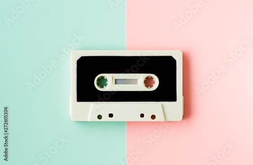 Cassette for tape recorder or walkman, in happy pastel colors - a symbol of 80s, 90s period - 272605304